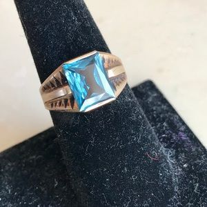 Vintage Gold Blue Topaz Deco Stamped Ring